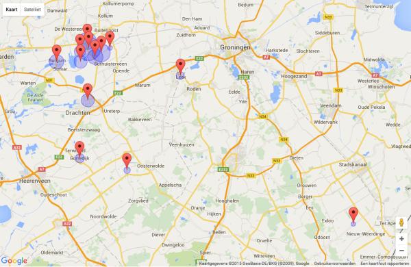 Geboorteplaatsen genealogie Tjeerd Jelles. Klik op kaart voor meer details.