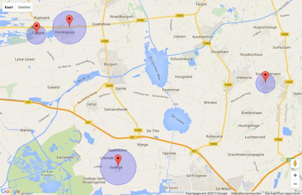 Geboorteplaatsen genealogie Aafke Annes Piekstra. Klik op kaart voor meer details.
