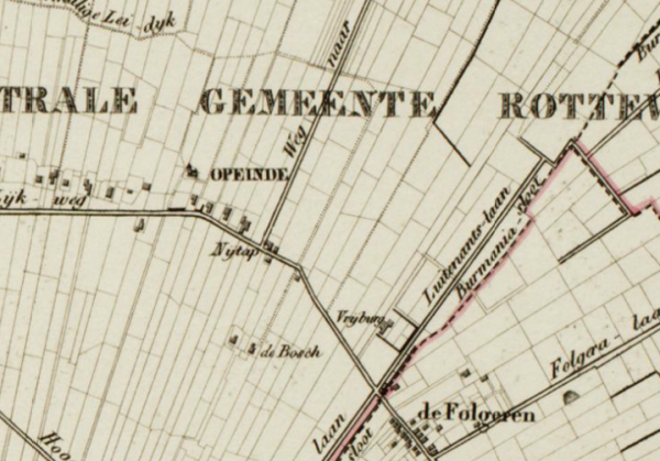 Herberg Nijtap op de Eekhoff-kaart van 1844