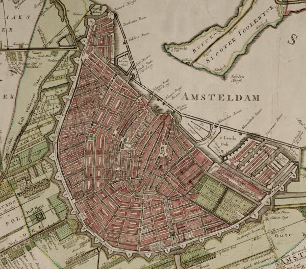 Kaart Amsterdam 1770 (fragment)